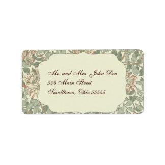Madreselva del verde de la invitación del boda etiqueta de dirección