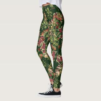 Madreselva floral por todo las polainas de la leggings