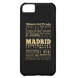Madrid City of Spain Typography Art iPhone 5C Cases