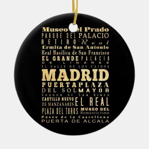 madrid city of spain typography art ceramic ornament zazzle