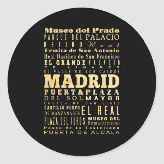 Madrid City of Spain Typography Art Classic Round Sticker