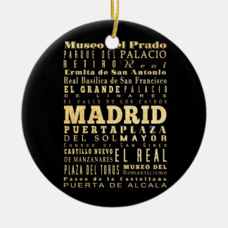Madrid City of Spain Typography Art Double-Sided Ceramic Round Christmas Ornament