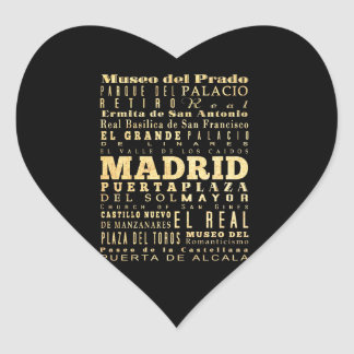 Madrid City of Spain Typography Art Heart Sticker