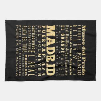 Madrid City of Spain Typography Art Kitchen Towel