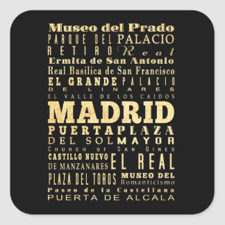 Madrid City of Spain Typography Art Square Sticker