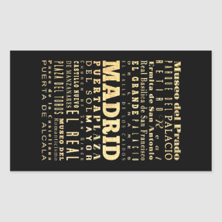 Madrid City of Spain Typography Art Stickers