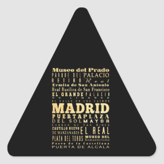 Madrid City of Spain Typography Art Triangle Sticker