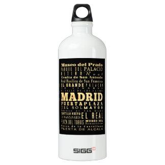 Madrid City of Spain Typography Art Water Bottle
