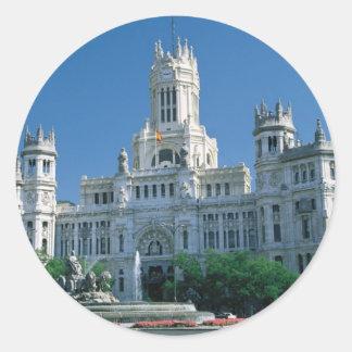 Madrid Communications Palace Round Sticker