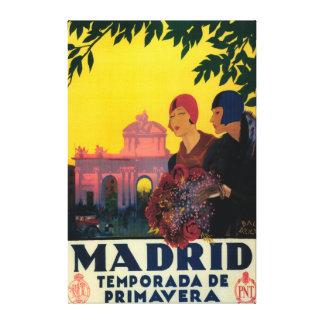 Madrid en poster promocional del viaje de la prima impresión en lienzo
