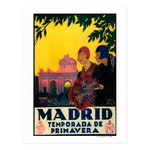 Madrid en poster promocional del viaje de la tarjetas postales
