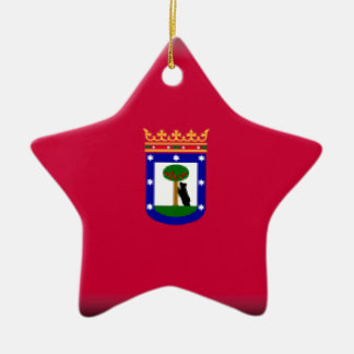 Madrid Flag Double-Sided Star Ceramic Christmas Ornament