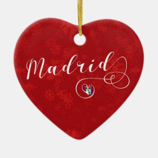 Madrid Heart, Christmas Tree Ornament, Spain Ceramic Ornament