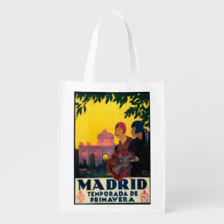 Madrid in Springtime Travel Promotional Poster Reusable Grocery Bag