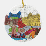 Madrid Double-Sided Ceramic Round Christmas Ornament