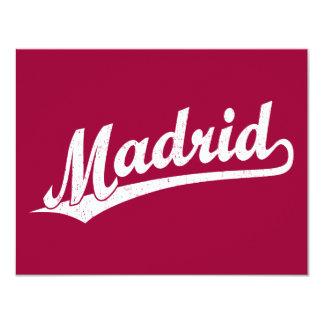 Madrid script logo in white distressed card