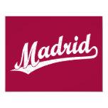 Madrid script logo in white distressed 4.25x5.5 paper invitation card