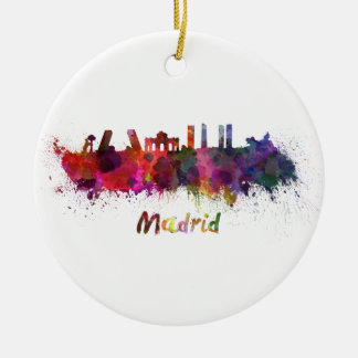 Madrid skyline in watercolor ceramic ornament
