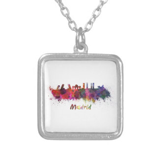 Madrid skyline in watercolor collares