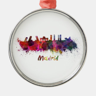 Madrid skyline in watercolor metal ornament