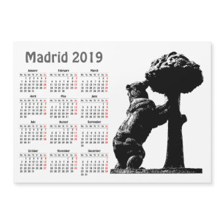 Madrid, Spain 2019 calendar magnetic card
