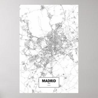 Madrid, Spain (black on white) Poster
