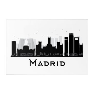 Professional Business Madrid, Spain | Black & White City Skyline Acrylic Print