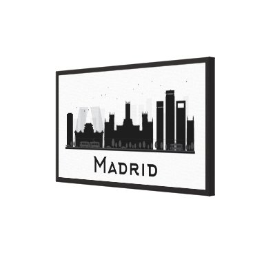 Professional Business Madrid, Spain | Black & White City Skyline Canvas Print