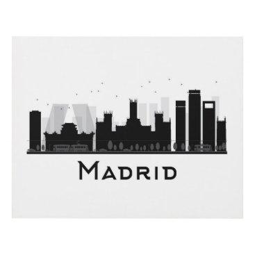 Professional Business Madrid, Spain | Black & White City Skyline Panel Wall Art