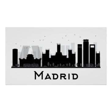 Professional Business Madrid, Spain | Black & White City Skyline Poster