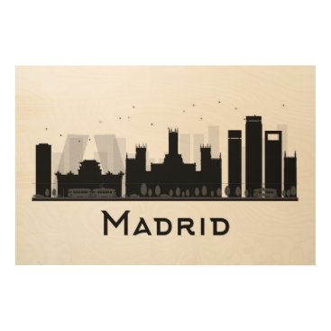 Professional Business Madrid, Spain | Black & White City Skyline Wood Print