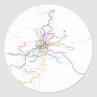 Madrid (Spain) Metro Map Classic Round Sticker