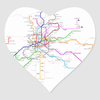 Madrid (Spain) Metro Map Heart Sticker