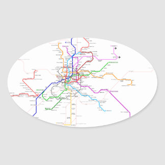Madrid (Spain) Metro Map Oval Sticker