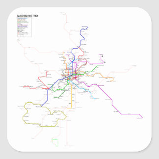 Madrid (Spain) Metro Map Square Sticker
