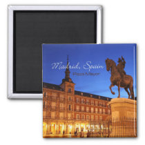 Madrid Spain Nighttime Scene Travel Magnets