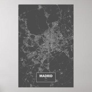 Madrid, Spain (white on black) Posters