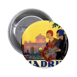 Madrid Temporada de Primavera - Vintage Art Poster Pinback Button
