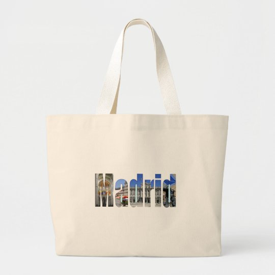 Madrid tourist attractions large tote bag