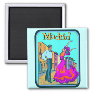 Madrid Travel Poster 2 Inch Square Magnet