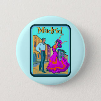 Madrid Travel Poster Pinback Button