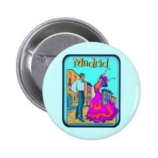 Madrid Travel Poster Pinback Button