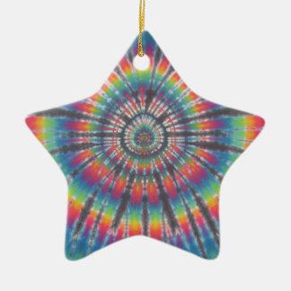 Madriguera de conejo del teñido anudado adorno de cerámica en forma de estrella