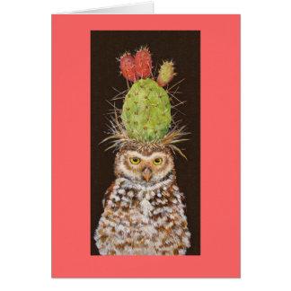 madriguera de la tarjeta del cactus del búho