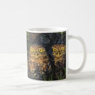Madriguera los búhos abrazados en su madriguera taza de café