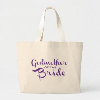 Madrina de la púrpura del tote de la novia bolsa