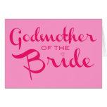 Madrina de las rosas fuertes de la novia en rosa tarjeta de felicitación