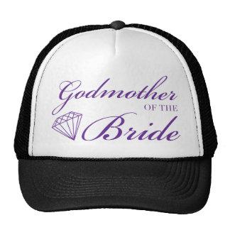 Madrina del diamante de la púrpura de la novia gorra