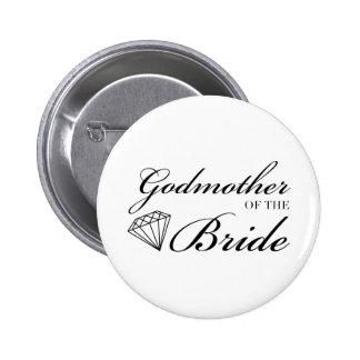 Madrina del diamante del negro de la novia pin redondo de 2 pulgadas