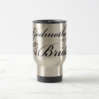 Madrina del diamante del negro de la novia taza de café